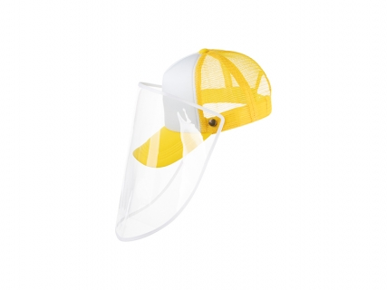 Sublimation Adult Mesh Cap w/ Removable Face Shield (Yellow)