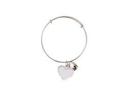 Adjustable Photo Bracelet W/ Round Insert (One Heart)