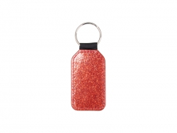 Glitter PU Leather Key Chain (Barrel, Red)