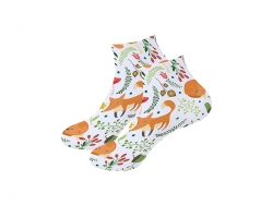 25cm Men Sublimation Ankle Socks (Full White) MOQ: 600pairs