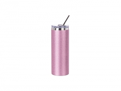 20oz/600ml Glitter Stainless Steel Skinny T Tumbler with Straw & Lid (Pink)