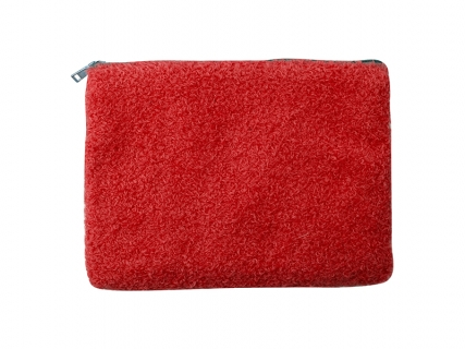 Blended Plush Pencil/ Makeup Case (White w/ Red)