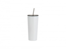 22oz/650ml Stainless Steel Tumbler w/ Straw (White)