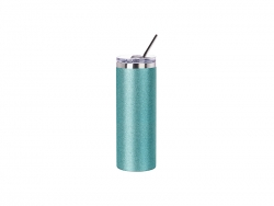 20oz/600ml Glitter Stainless Steel Skinny Tumbler with Straw & Lid (Light Blue)