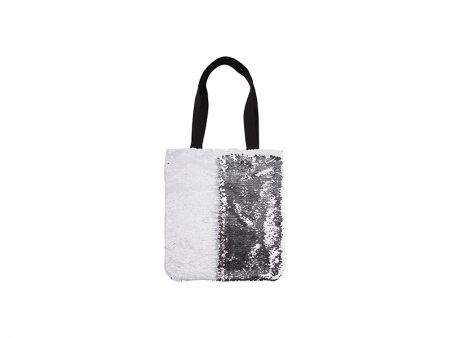 Sublimation Sequin Double Layer Tote Bag (White/Silver)