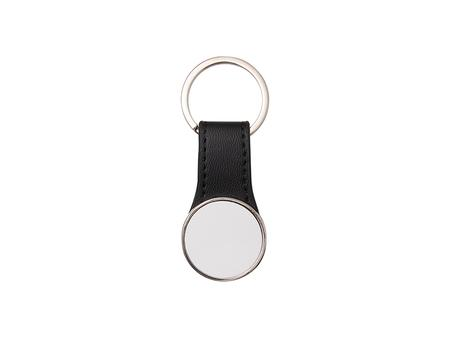 Double-Sided Sublimation PU Strap Key Chain (Round, 3*5.8cm)
