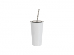 16oz/480ml Stainless Steel Tumbler w/ Straw (White)