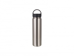 25oz/750ml Stainless Steel Flask w/ Portable Lid (Silver)