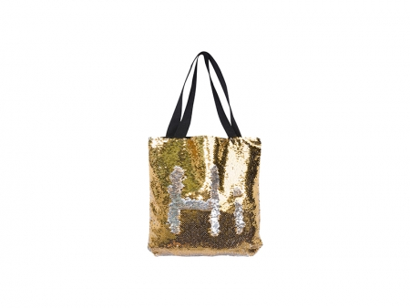 Sublimation Sequin Double Layer Tote Bag (Gold/Silver, 35*38cm)