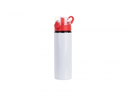 750ml Alu water bottle with Red cap (White) MOQ: 2000