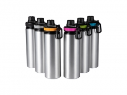 25oz/850ml Sublimation Blanks Alu Water Bottle with Color Cap (Silver)