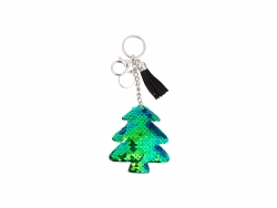 Sequin Keychain w/ Tassel and Insert (Blue and Green Christmas Tree)