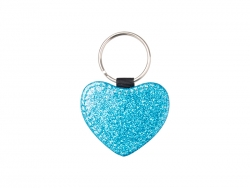 Glitter PU Leather Key Chain (Heart, Blue)