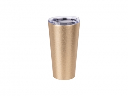 16oz/480ml Glitter Stainless Steel Tumbler w/ Lid (Gold)