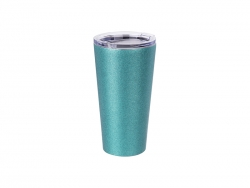 16oz/480ml Glitter Stainless Steel Tumbler w/ Lid (Light Blue)