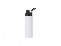 25oz/750ml Stainless Steel Flask w/ Portable Lid (White) MOQ:3000