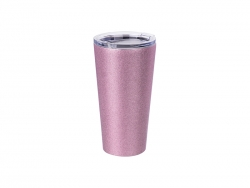 16oz/480ml Glitter Stainless Steel Tumbler w/ Lid (Pink)