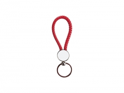 Round Braided Keyring (Red)
