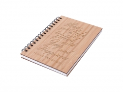 A5 Wiro Bamboo Cover Notebook(14.1*21cm) MOQ: 500pcs