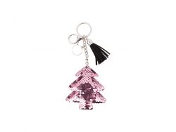 Sequin Keychain w/ Tassel and Insert (Pink Christmas Tree)
