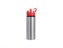 750ml Alu water bottle with Red cap (Silver) MOQ: 2000