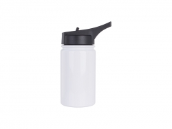12oz/350ml Stainless Steel Flask w/ Sports Straw Cap Flip Lid (White)