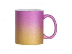 Sublimation 11oz/330ml Gradient Bottom Glitter Mug (Purple+Gold)
