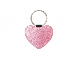 Glitter PU Leather Key Chain (Heart, Pink)