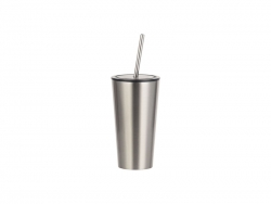 16oz/480ml Stainless Steel Tumbler w/ Straw (Silver)