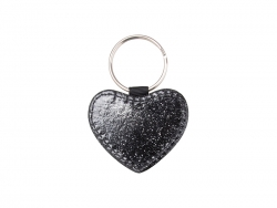 Glitter PU Leather Key Chain (Heart, Black)