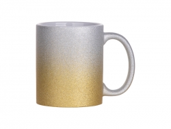 Sublimation 11oz/330ml Gradient Bottom Glitter Mug (Silver & Gold)