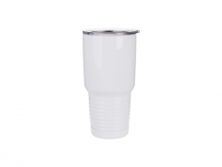 30oz Stainless Steel Tumbler with Ringneck Grip (White)