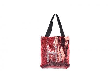 Sublimation Sequin Double Layer Tote Bag(Red/Silver, 35*38cm)