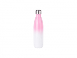 17oz/500ml Stainless Steel Cola Shaped Bottle (Gradient Color White&Pink)