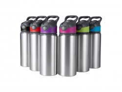 20oz/650ml Sublimation Blanks Alu Water Bottle with Color Cap (Silver)