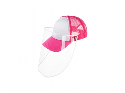 Sublimation Adult Mesh Cap w/ Removable Face Shield (Rose Red)