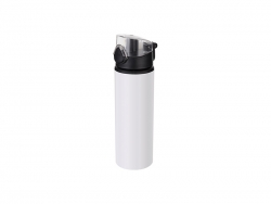 750ml Alu water bottle with Clear cap (White) MOQ: 2000