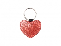 Glitter PU Leather Key Chain (Heart, Red)