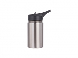 12oz/350ml Stainless Steel Flask w/ Sports Straw Cap Flip Lid (Silver)
