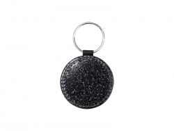 Glitter PU Leather Key Chain(Round, Black)