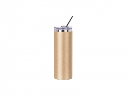 20oz/600ml Glitter Stainless Steel Skinny Tumbler with Straw & Lid (Gold)